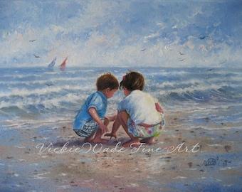Beach Boy and Girl Art Print, beach art, beach children paintings, shelling, brother and sister, beach house wall art, Vickie Wade art
