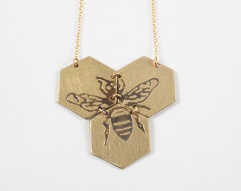 Hexagon Necklace - Bee Necklace - Gold Hexagon Jewelry - Beehive Necklace - Honeycomb Necklace - Geometric Necklace - Statement Jewelry