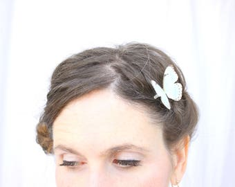 1 silk butterfly hair clip . your choice of butterflies . gifts for birthday, wedding, bridesmaids, parties . costume . realistic hand cut