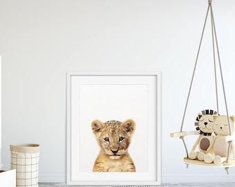 Lion Print, Safari Animal Prints, Baby Lion Wall Art, Lion Cub, Safari Nursery Decor, Nursery Wall Art, Safari Animals, Kids Room Printable