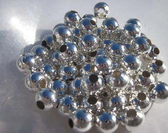 10 round beads 10 mm - bright silver metal (4125)