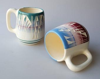 2 Vintage etched Navajo ceramic mugs 12 oz signed Padilla and F.B. Ecetso