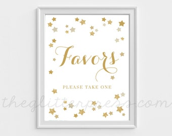Favors Sign Printable, Please take one, Twinkle Little Star, party sign, gender neutral shower or birthday sign, gold glitter star, 006