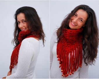 Fringe neck warmer, autumn color accessories, unusual triangle scarf, everyday circle brick red neck