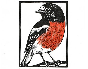 Linocut of a Scarlet Robin with Hand Painted Water Colour, Australian Bird Print, Printmaking, Lino Print