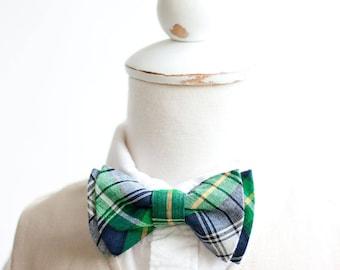 Bow Ties, Boys Bow Ties, Baby Bow Ties, Bowties, Ring Bearer, Bow ties For Boys, Plaid Bow Tie - Navy, Green, Yellow Organic Madras Plaid