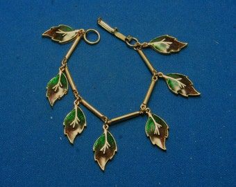 Vintage Leaf Leaves Dangle Bracelet With Green And Brown Enamel