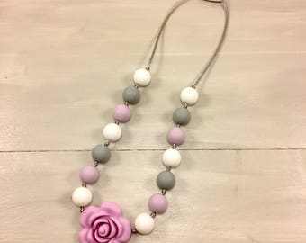Girl Fidget Necklace, Rose Necklace, Girl Necklace, Silicone Beads, ChewBeads, Sensory Necklace, Chew Beads, Children's Jewelry, Ages 3+