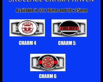 FIREMEN Shoelace Charm  Paracord Bracelet Charm Oval Charm 12 x 16mm or 18 x 25mm Charms