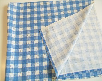 SALE   1950s Blue And White Checked Towel Or Small Tablecloth, Kitchen,  Towel