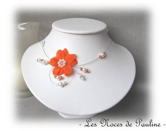 Orange white bridal flowers silk 'Tradition' Eva ceremony necklace