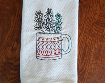 Succulent  Hand Towel Tea Towel Kitchen Housewarming Housewarming Gift Handmade in the USA