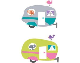 Retro caravan clip art, retro caravan graphic, caravan, retro caravan illustration, instant illustration, printable illustration.