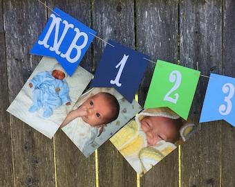 12 month photo banner, 1st birthday photo banner, first year banner, boy birthday banner