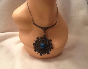 Vintage Statement Necklace Metal Bohemian Necklace Boho Necklace Turquoise Center Choker Silver Medallion