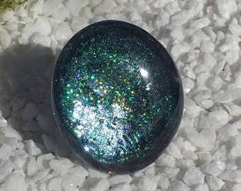 Glass Statement Galactic Ring. Glitter Boho Ring. OOAK