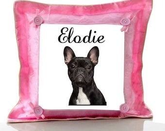 Cushion Pink french Bouldog personalized with name