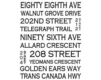 Walnut Grove Langley B.C. - Love This Place Street Name Art Print on Paper - Customize With Your Street - Vancouver TheJitterbugShop