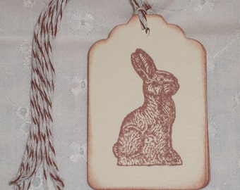 Chocolate Bunny Tag Easter Tag  - Easter - Set of Six