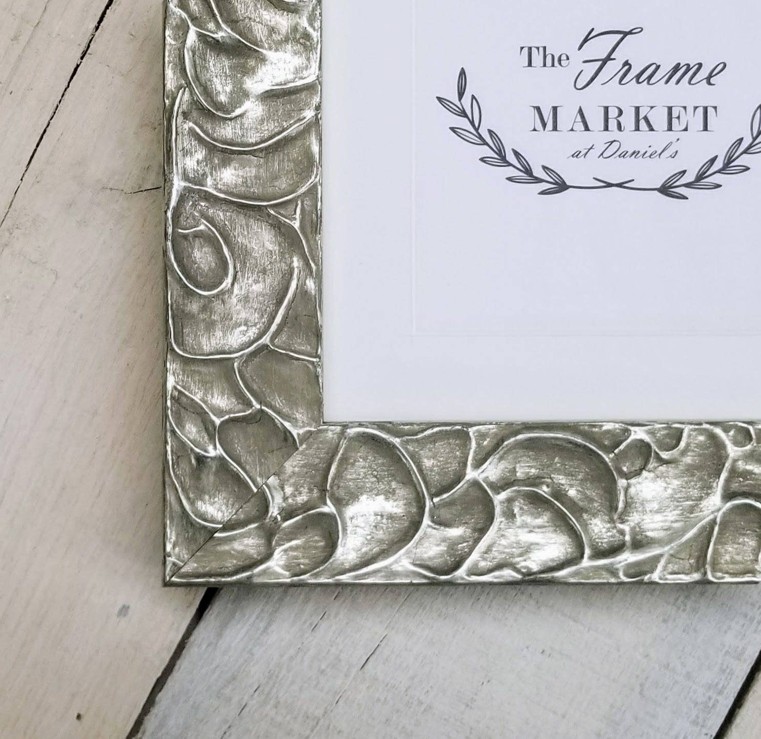 Ermine Designer Silver Wood Picture Frame With White Mat