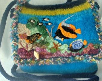 Felted Purse, Felted Handbag, Fish Art, Coral Reef Art, Fiber Art, Needle Felt Fish, Messenger Purse