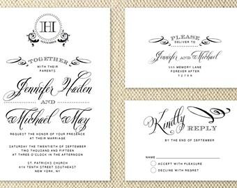Letterpress Wedding Invitation,letterpress invite,Classic,modern,handwritten,script,SAMPLE