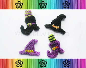 PATTERN-Crochet Witch's Hat and Boot Applique-Detailed Photos