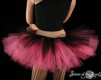 tulle tutu skirt Layered two tone gothic dance adult Black hot pink goth gothic dancer 80s party club wear - All Sizes- Sisters of the Moon