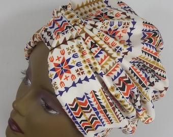 Silky,  fashion turban, hat, tribal print, Aztec, full turban, white, bohemian, vintage style, size Sm, Med, L, XL. Free shipping USA