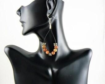 Boho Earrings, Leather Teardrop, Beaded Earrings, Bohemian Earrings, Leather Jewelry, Gypsy Earrings, Boho Chic, Dangle Earrings, Jewelry