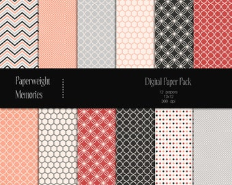 Salmon River - digital patterned paper - Instant Download - digital scrapbooking - patterned and  textured paper - Commercial use