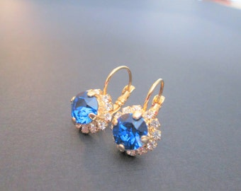 Capri Blue Swarovski Crystal Earrings/Bridesmaid Earrings/Blue Crystal Halo Earrings/Capri Blue Crystal Studs/Capri Blue Wedding Jewelry