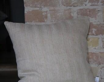 Kissen aus antiken Küchen-Leinen: Streifen in naturfarben / 45*45cm