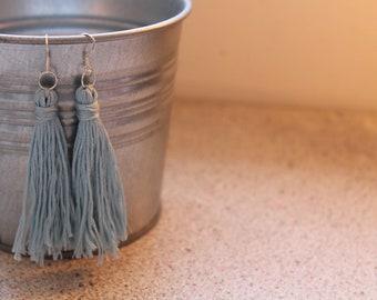 Handmade Marine Blue Tassel Earrings