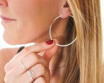 """Silver Hoop Earrings - Thin Silver Hoop Earrings - Hammered Sterling Silver Hoops - 2"""" Large Hoops - Hypoallergenic Silver Hoops - Thin Hoop"""