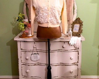RESERVED For Lisa Please Do Not Purchase Thank You! :-) Cream and White Cardigan, Wedding Bridal Sweater, Unique Vintage Cardigan