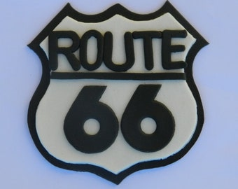 1 edible large ROUTE 66 SIGN las vegas plaque cake topper decoration icing casino decorations wedding anniversary birthday engagement