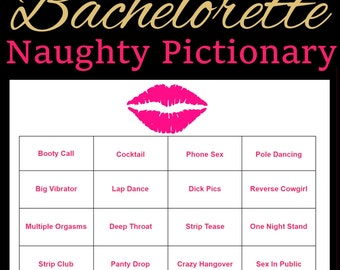 Personalized Bachelorette Party Games - Dirty Pictionary - Bachelorette Games Printable - Hens Night Games - Pink and Gold - Hen Party