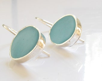 Sterlins Silver Turquoise Resin Earrings