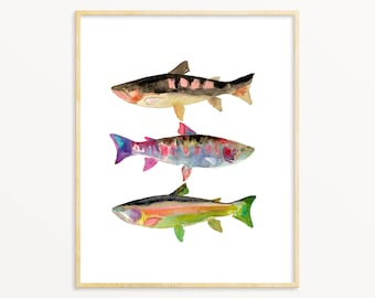 3 Watercolor Trout. Gift for Dad. Office Decor. Fish Wall Art. Gallery Wall Art.