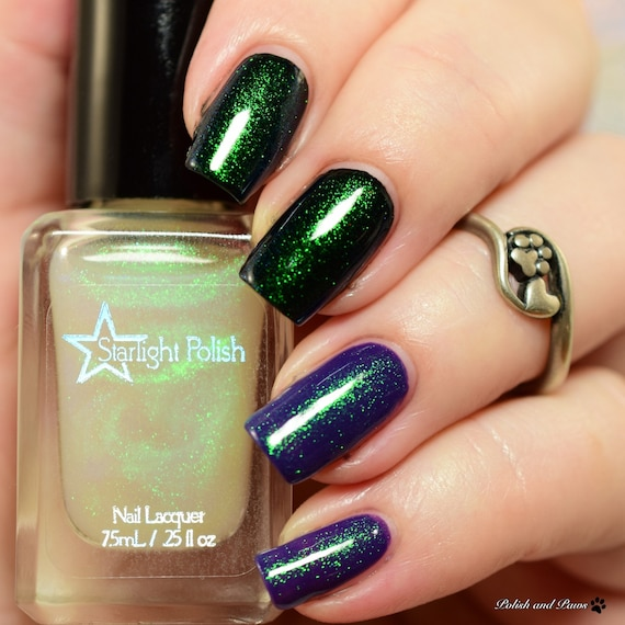 Unicorn Duochrome Color Shifting Top Coat Shimmer Green to Blue ...