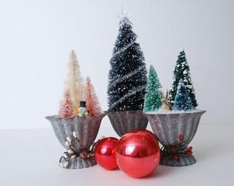 Bottle Brush Christmas Trees-Vintage Christmas Decor- Christmas Decoration