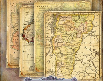 10 Vintage Map Papers