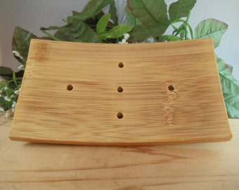 Deluxe Bamboo Wood Soap Dish - Helps Extend Life of Soap