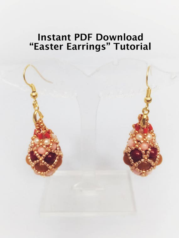 egg il pattern listing beading tutorial easter beaded earrings