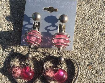 Cute silver heart earrings