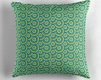 Green cushion, Retro throw pillow, Mid century modern cushion, Green living room, 60s decor, Retro pillow, Blue pillow, 70s home decor