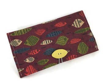 Fishy checkbook wallet or coupon storage for purse fish print fabric