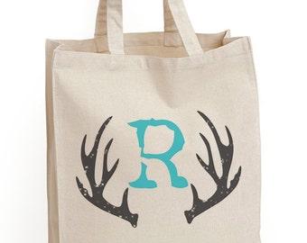 """1 """"RYAN"""" Tote Bag,Gift bags,Antler tote bags, Custom bags,Groomsman bags,Antlers, Hunting bag,Mens bag, Rustic bag, by Modern Vintage Market"""