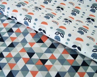 Set of two coupons geometric patterns, 50 x 48 cm, cotton fabric